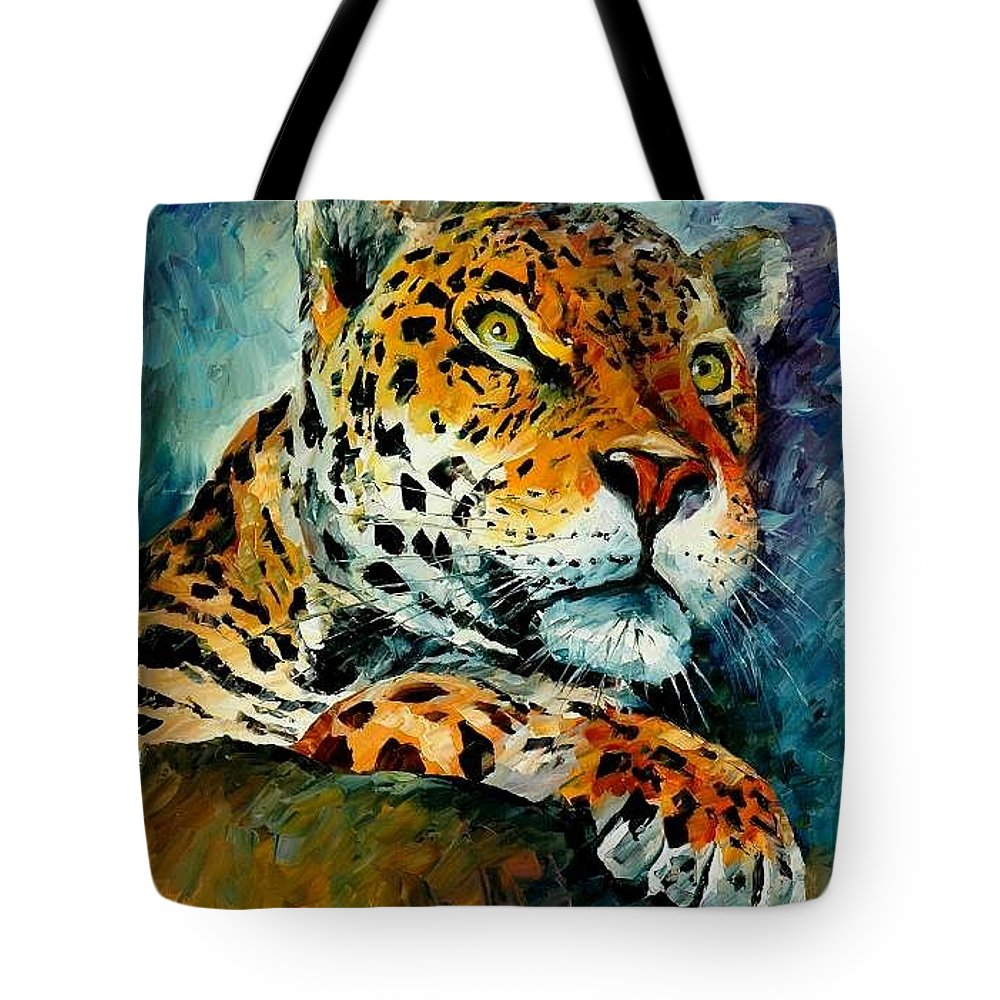 Animals Tote Bag featuring the painting Leopard by Leonid Afremov