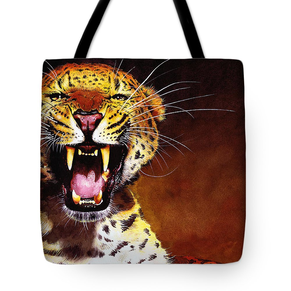 Leopard Tote Bag featuring the painting Leopard by Paul Dene Marlor