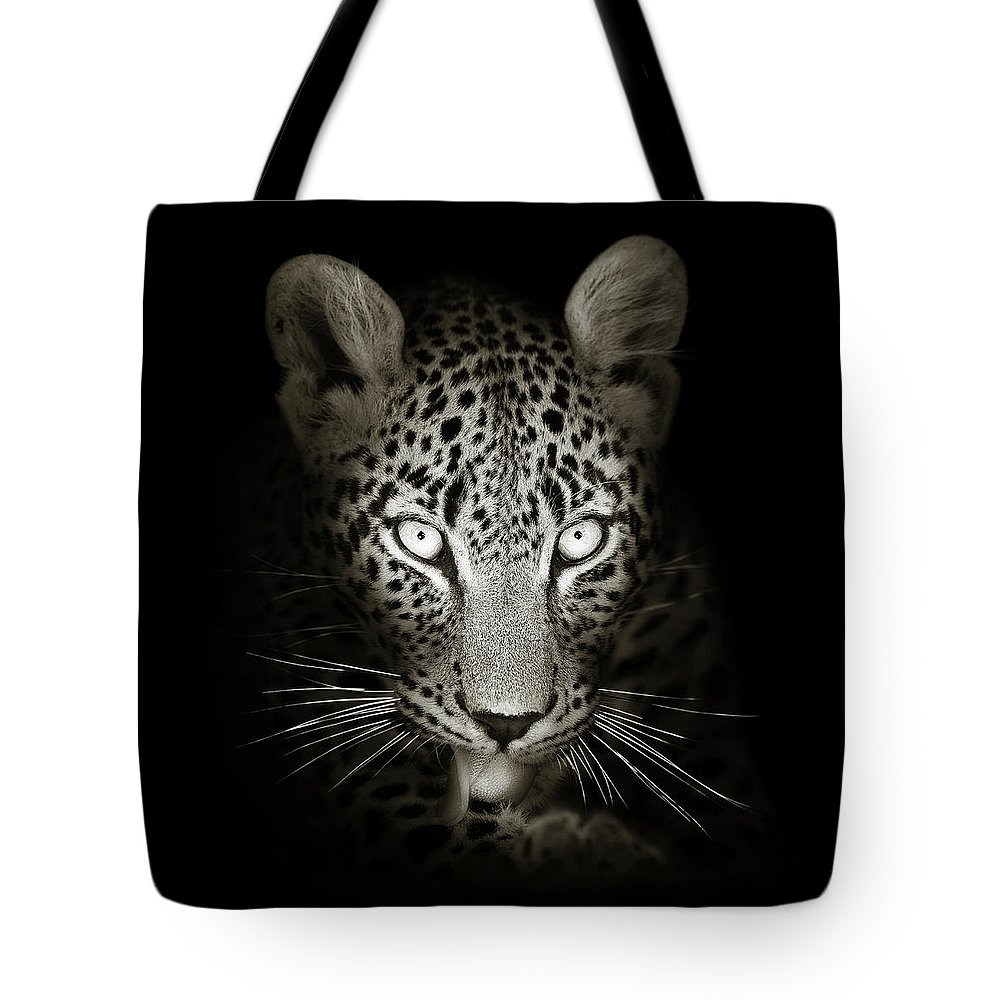 Leopard Tote Bag featuring the photograph Leopard portrait in the dark by Johan Swanepoel