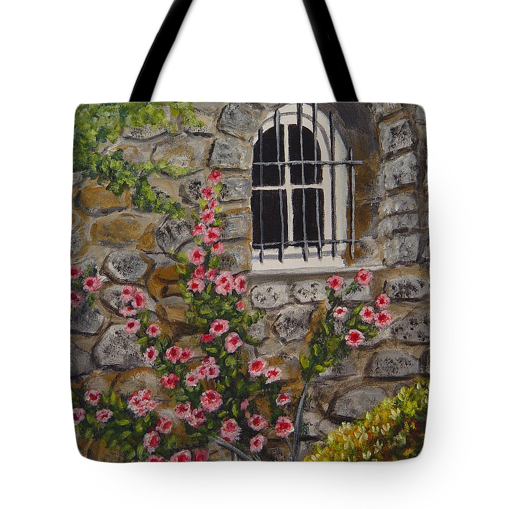 Window Tote Bag featuring the painting Les Arcs Sur Argens by Quwatha Valentine