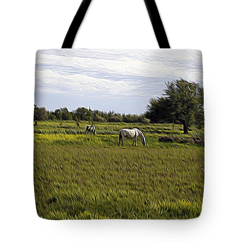 Horse Tote Bag featuring the photograph Les Chevaux Dans Le Pre by Kris Woo