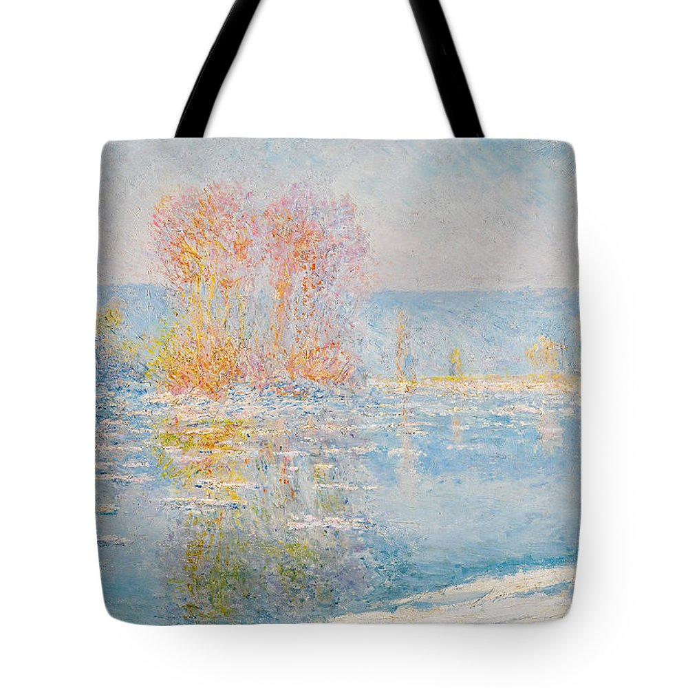 Claude Monet Tote Bag featuring the painting Les Glacons. Bennecourt by Claude Monet