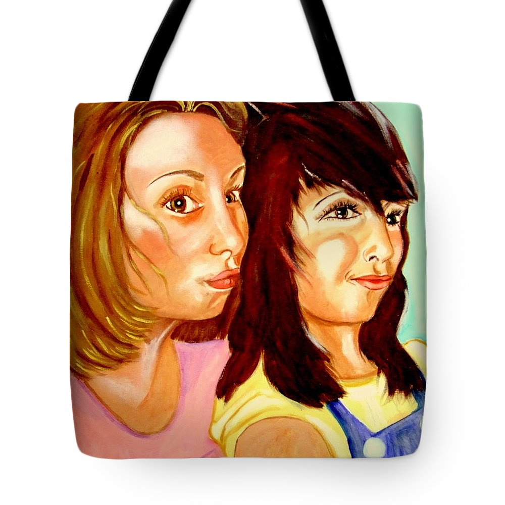 Confidences Tote Bag featuring the painting Les Meilleures Amies  Hanna And Yasmine by Rusty Gladdish