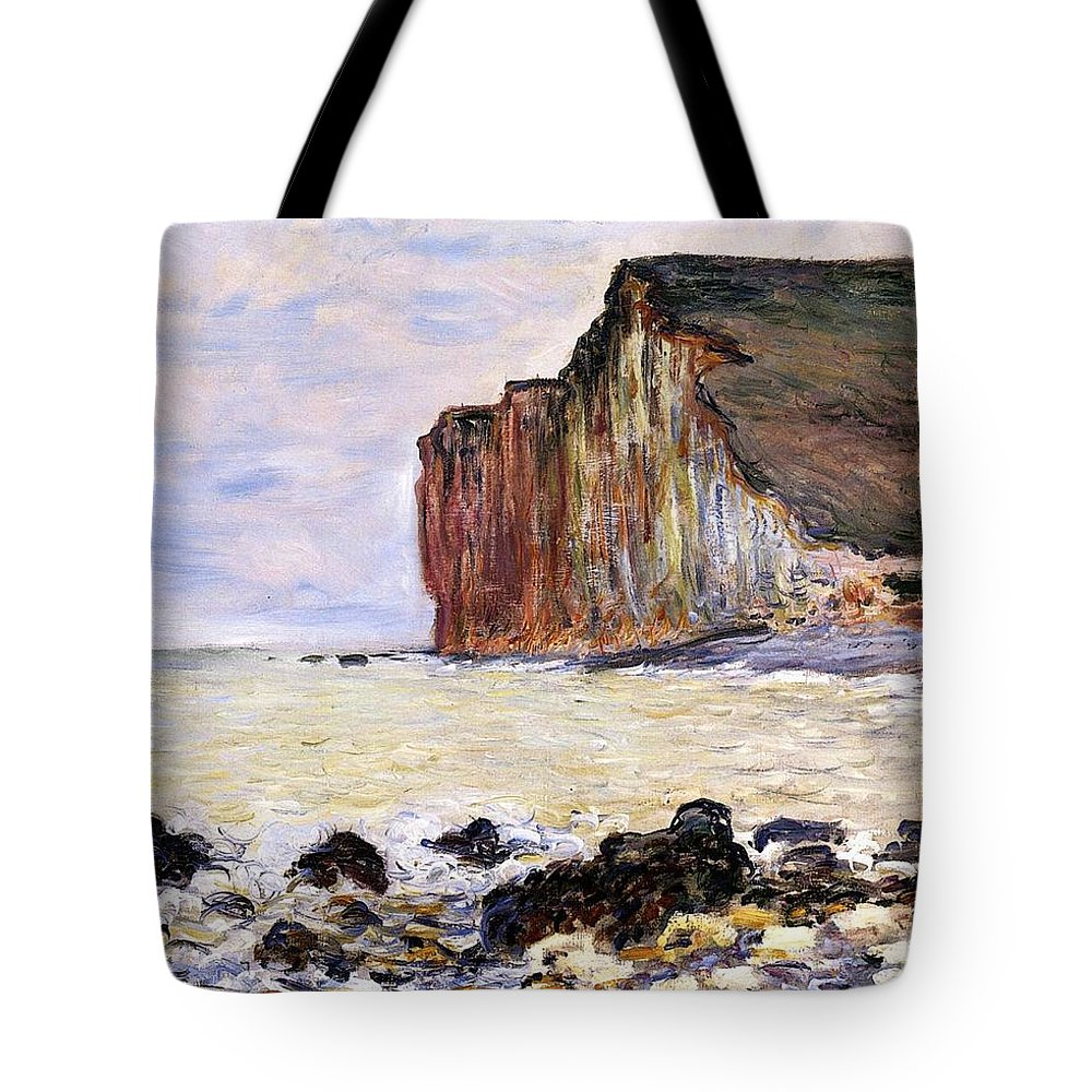 French Tote Bag featuring the painting Les Petites Dalles by Claude Monet