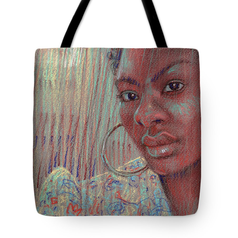 Portrait Tote Bag featuring the drawing Leslie K by Donald Maier