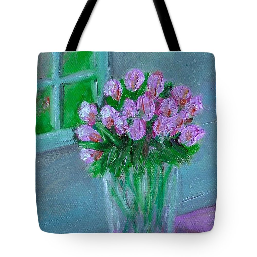 Rose Tote Bag featuring the painting Leslie's Roses by Laurie Morgan