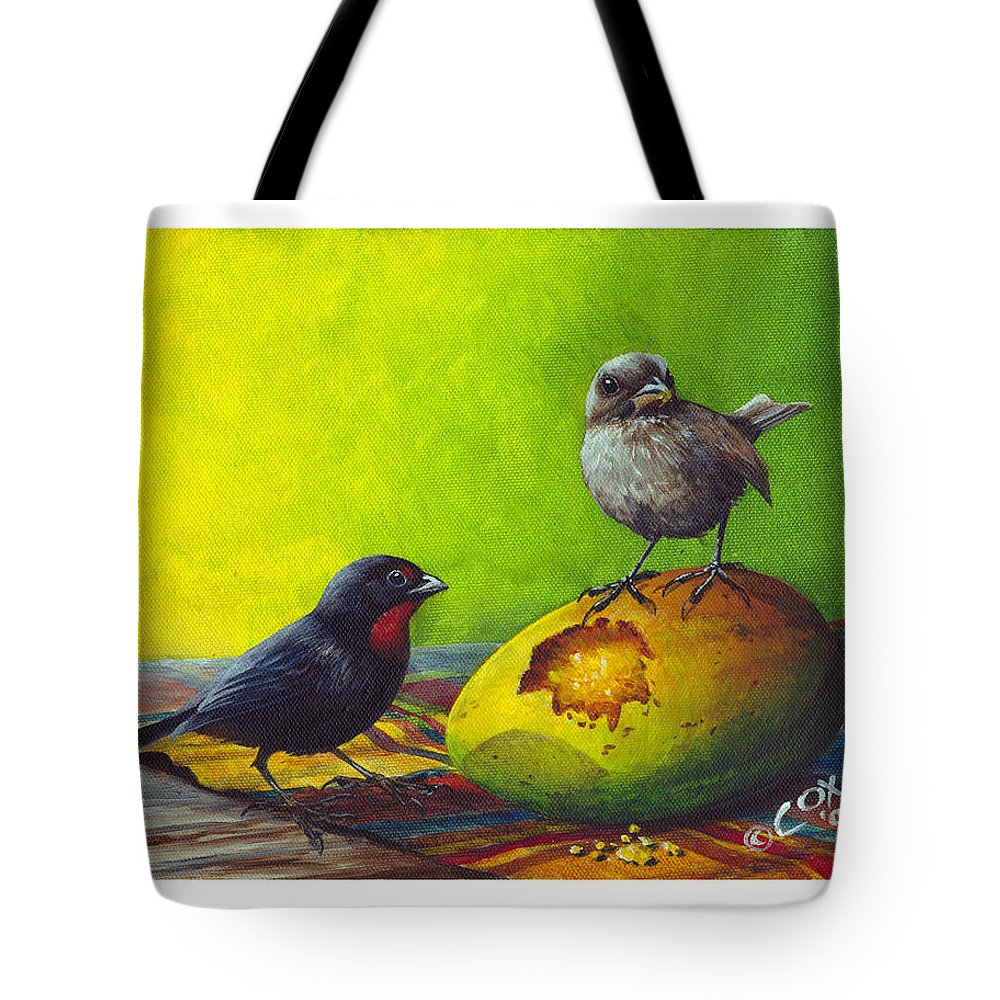 Chris Cox Tote Bag featuring the painting Lesser Antillean Bullfinches And Mango by Christopher Cox