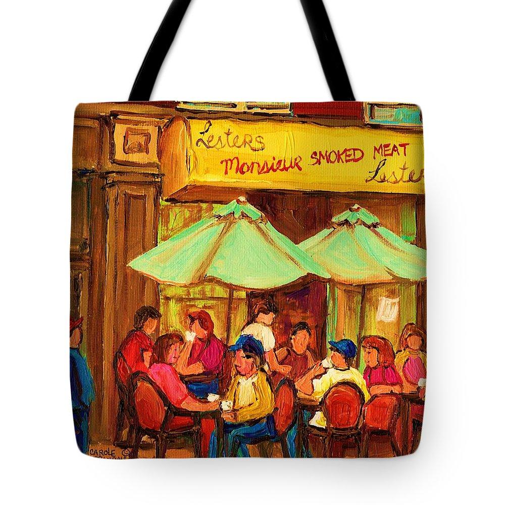 Lesters Monsieur Smoked Meat Cafe Tote Bag featuring the painting Lesters Monsieur Smoked Meat by Carole Spandau