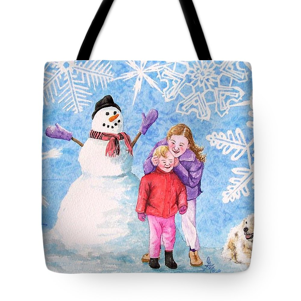 Snowman Tote Bag featuring the painting Let It Snow by Gale Cochran-Smith
