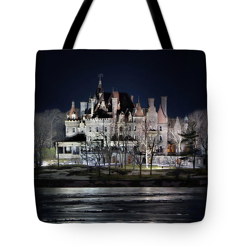 Boldt Castle Tote Bag featuring the photograph Let The Light On by Lori Deiter