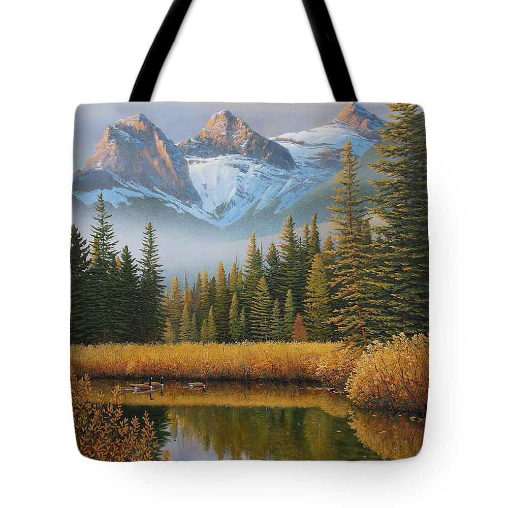 Landscape Tote Bag featuring the painting Let There Be Light by Jake Vandenbrink