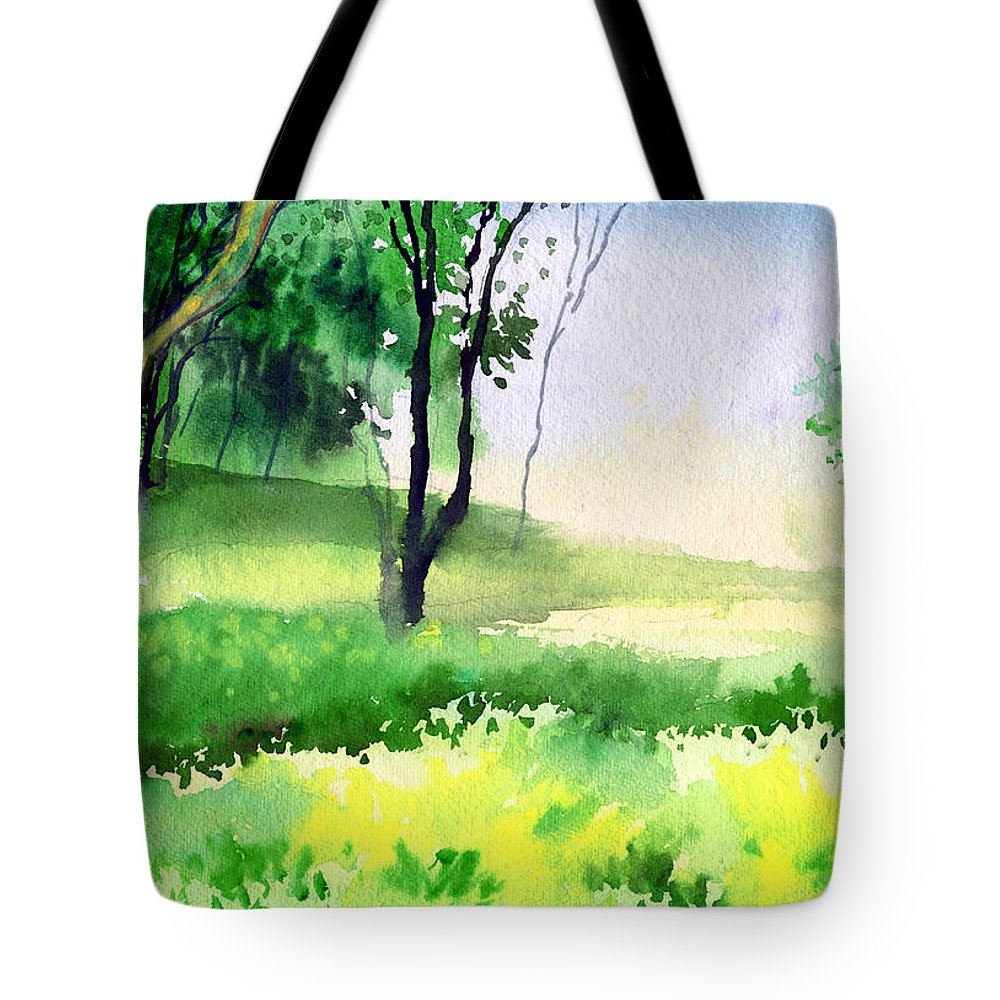 Watercolor Tote Bag featuring the painting Let's Go For A Walk by Anil Nene
