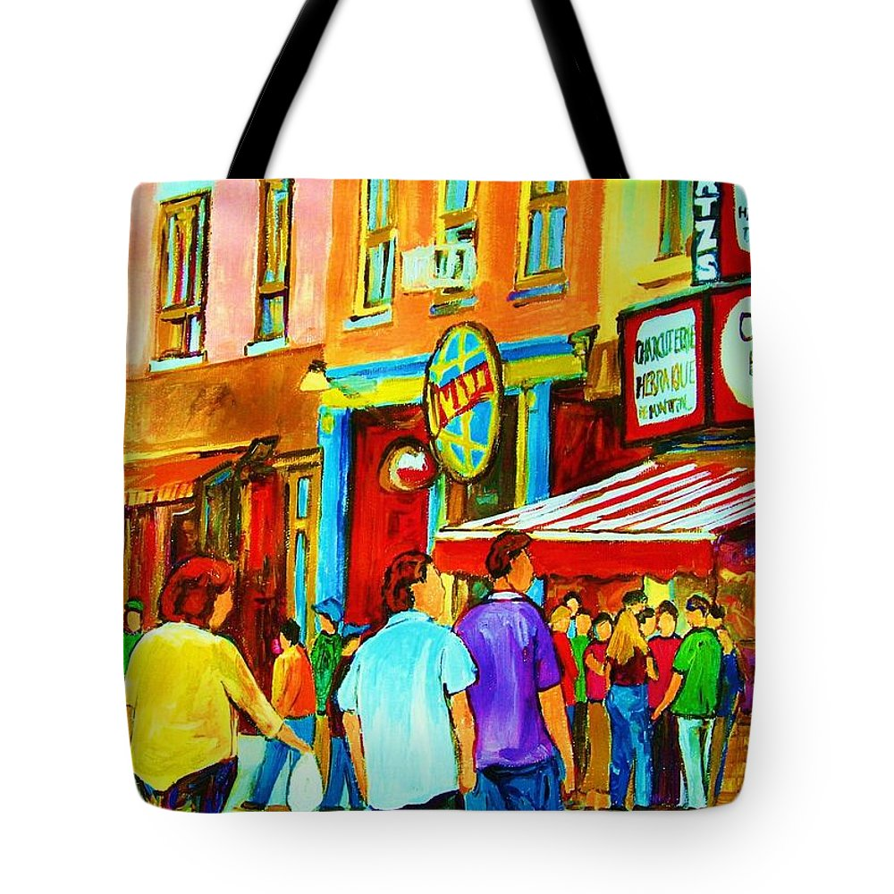 Cityscape Tote Bag featuring the painting Lets Meet For Lunch by Carole Spandau