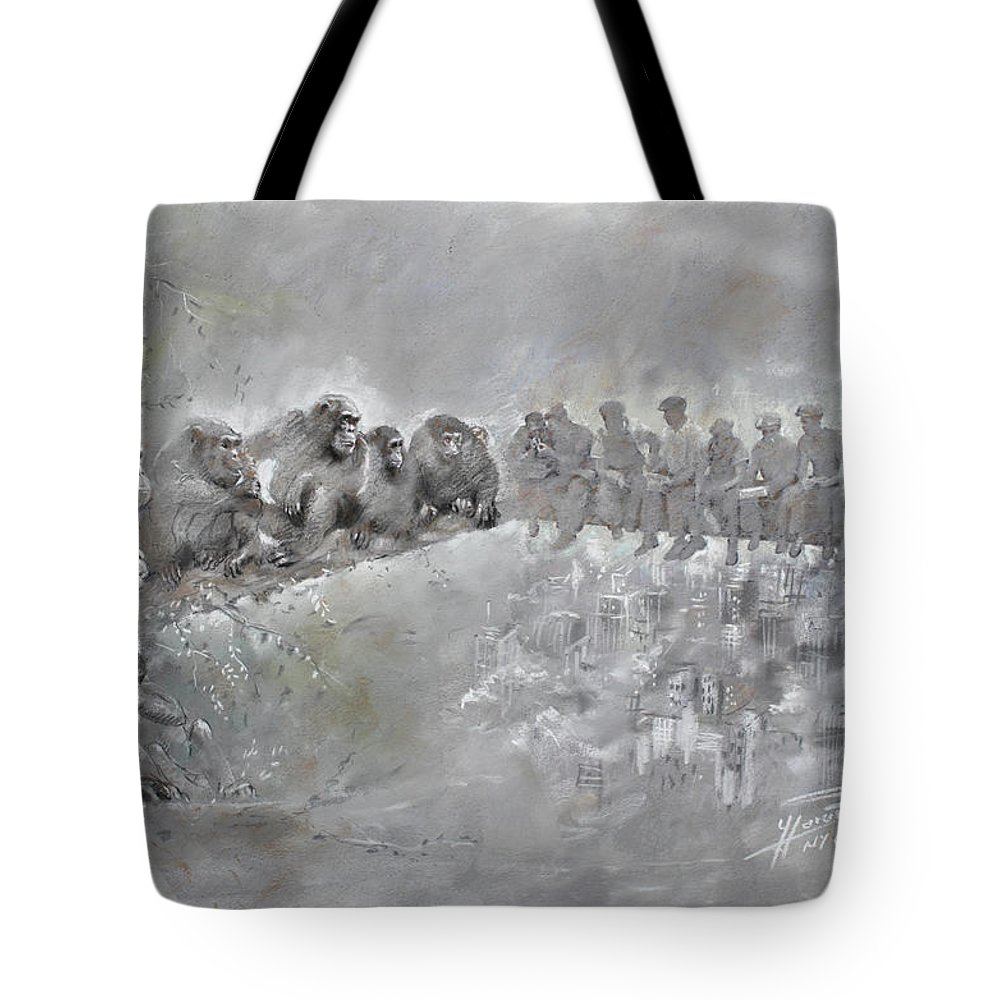 Fine Art Tote Bag featuring the drawing Let's Talk... by Ylli Haruni