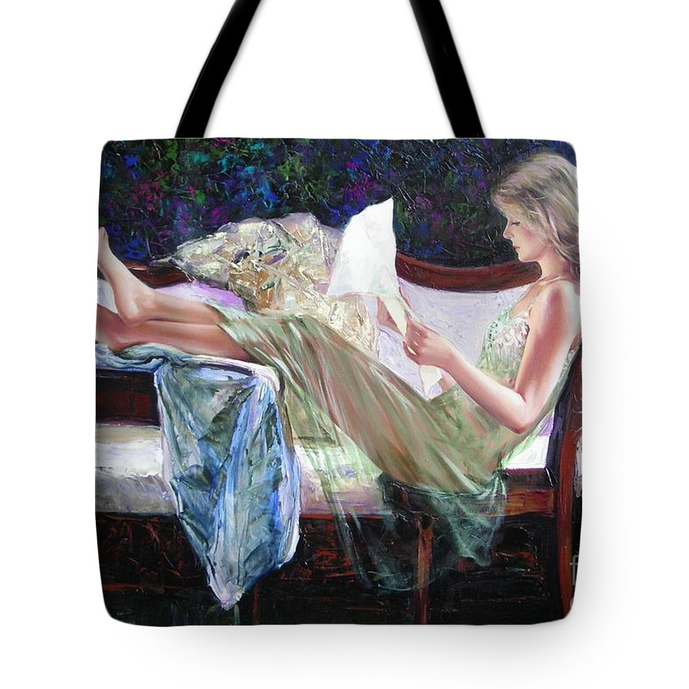 Figurative Tote Bag featuring the painting Letter From Him by Sergey Ignatenko