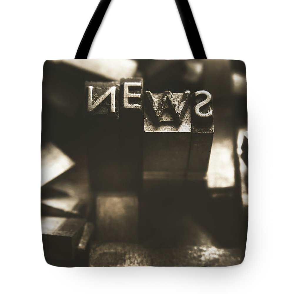 News Tote Bag featuring the photograph Letterpress And Vintage Journalism by Jorgo Photography - Wall Art Gallery