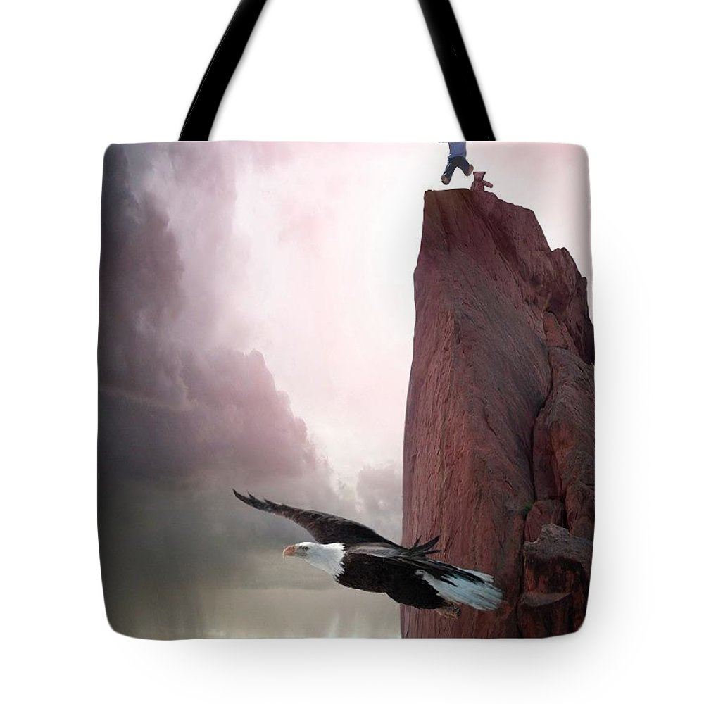 Eagles Tote Bag featuring the digital art Letting Go by Bill Stephens
