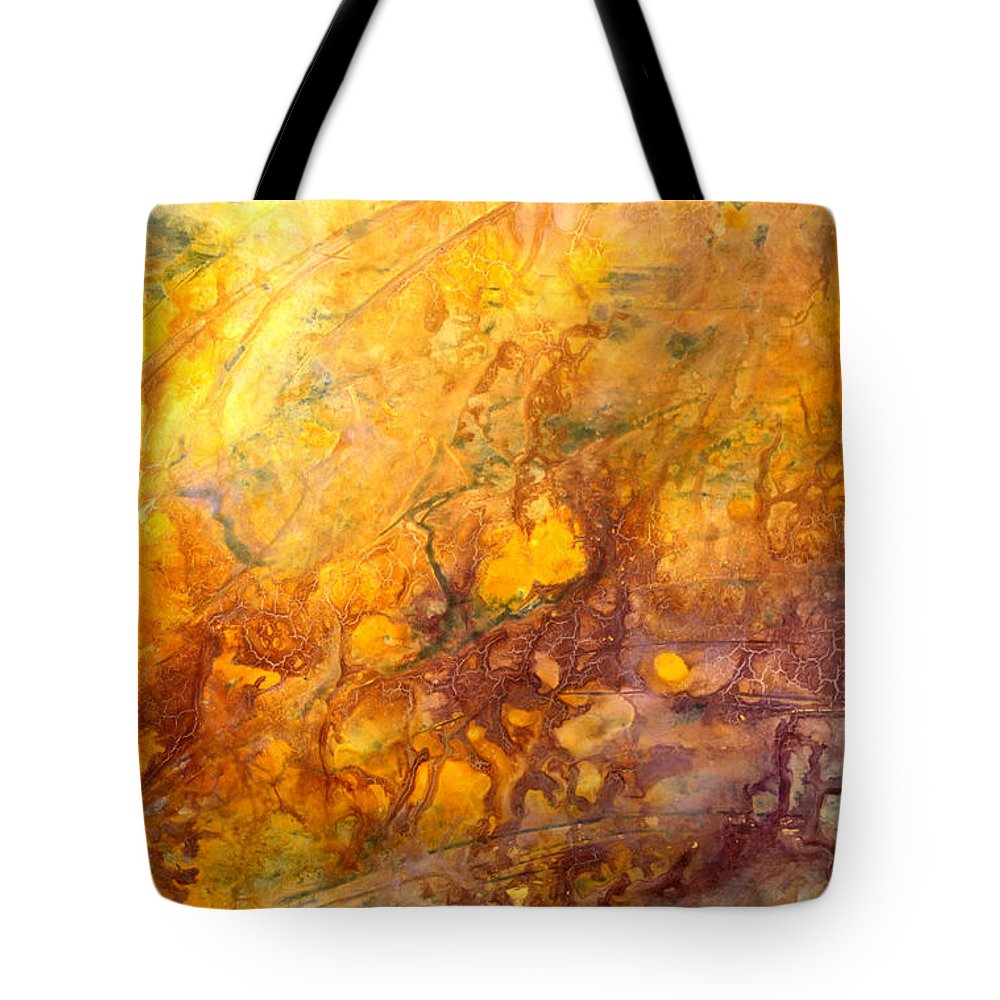 Abstract Tote Bag featuring the painting Letting The Sunshine In by Valerie Travers