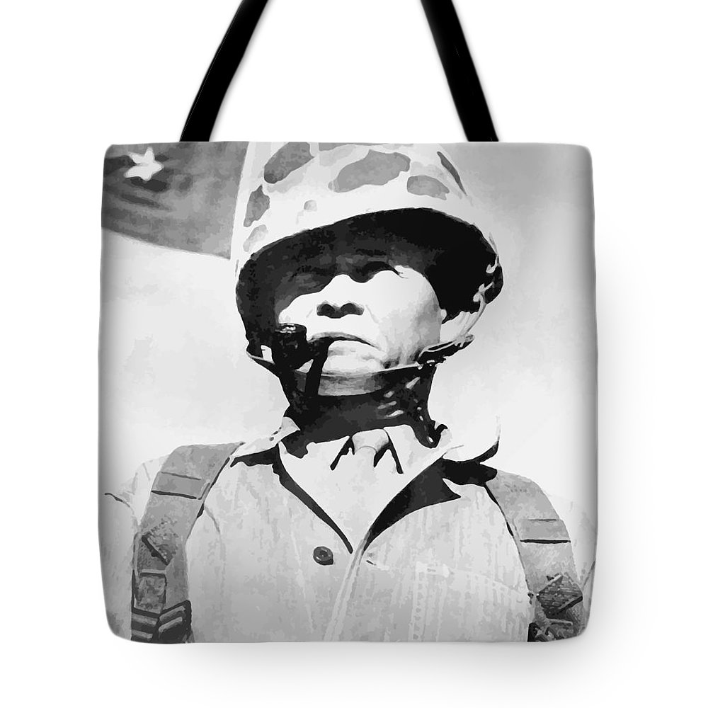 Chesty Puller Tote Bag featuring the painting Lewis Chesty Puller by War Is Hell Store