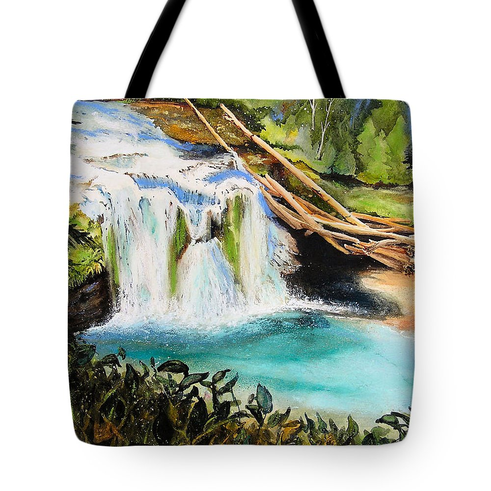 Water Tote Bag featuring the painting Lewis River Falls by Karen Stark