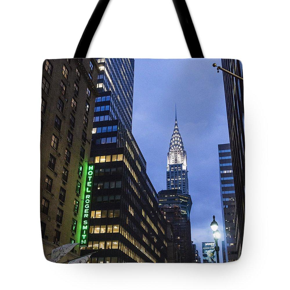 Lexington Avenue Tote Bag featuring the photograph Lexington Avenue, Chrysler building, New York by Juergen Held