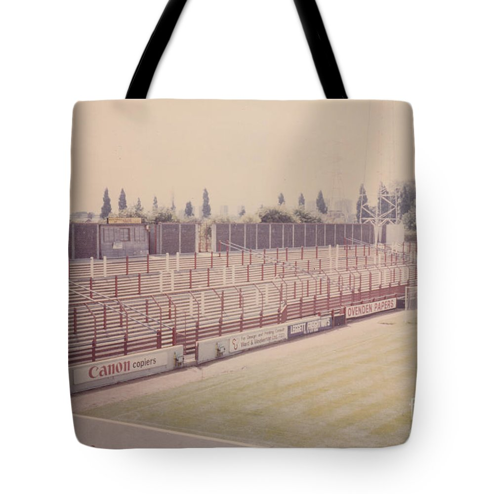 Tote Bag featuring the photograph Leyton Orient - Brisbane Road - Buckingham Road Terrace South Goal 1 - August 1986 by Legendary Football Grounds