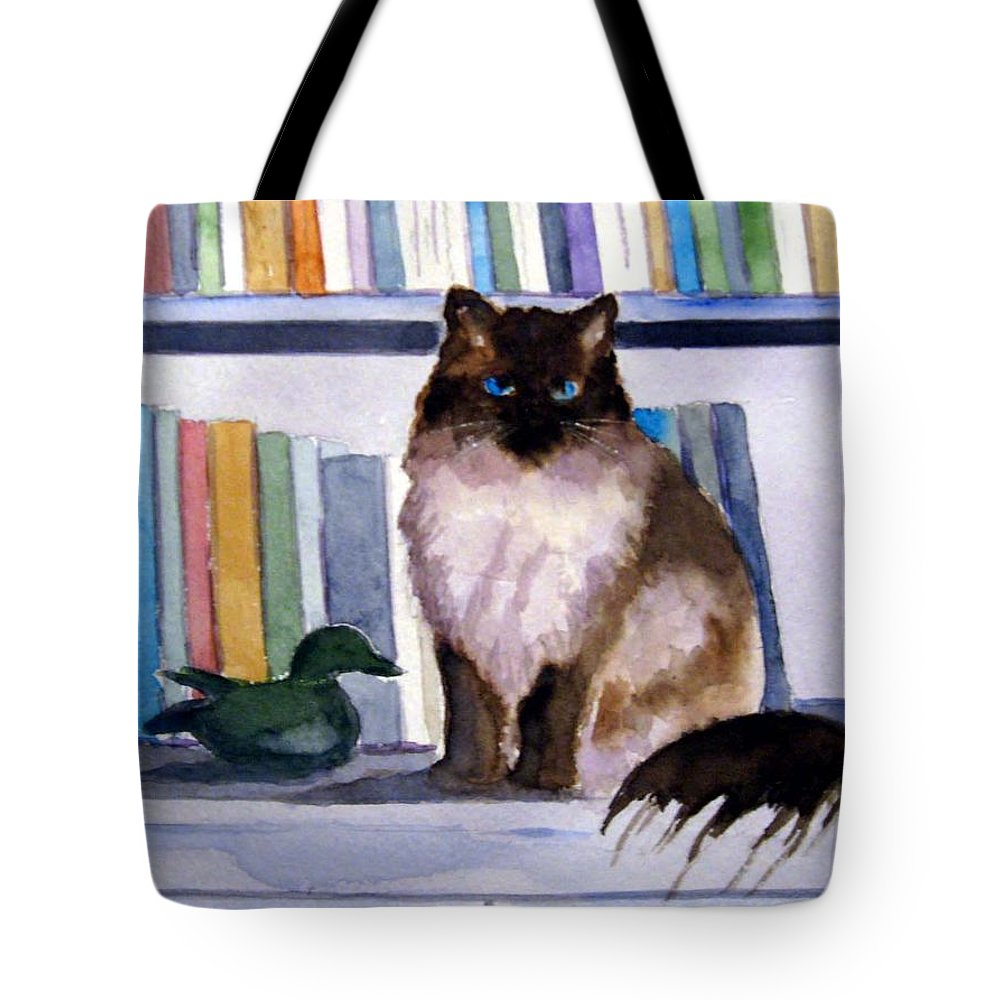 Cat Tote Bag featuring the painting Lhasa by Marsha Elliott
