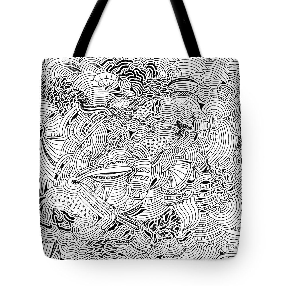 Mazes Tote Bag featuring the drawing Liberation by Steven Natanson