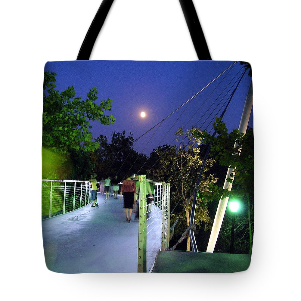 Liberty Bridge Tote Bag featuring the photograph Liberty Bridge At Night Greenville South Carolina by Flavia Westerwelle