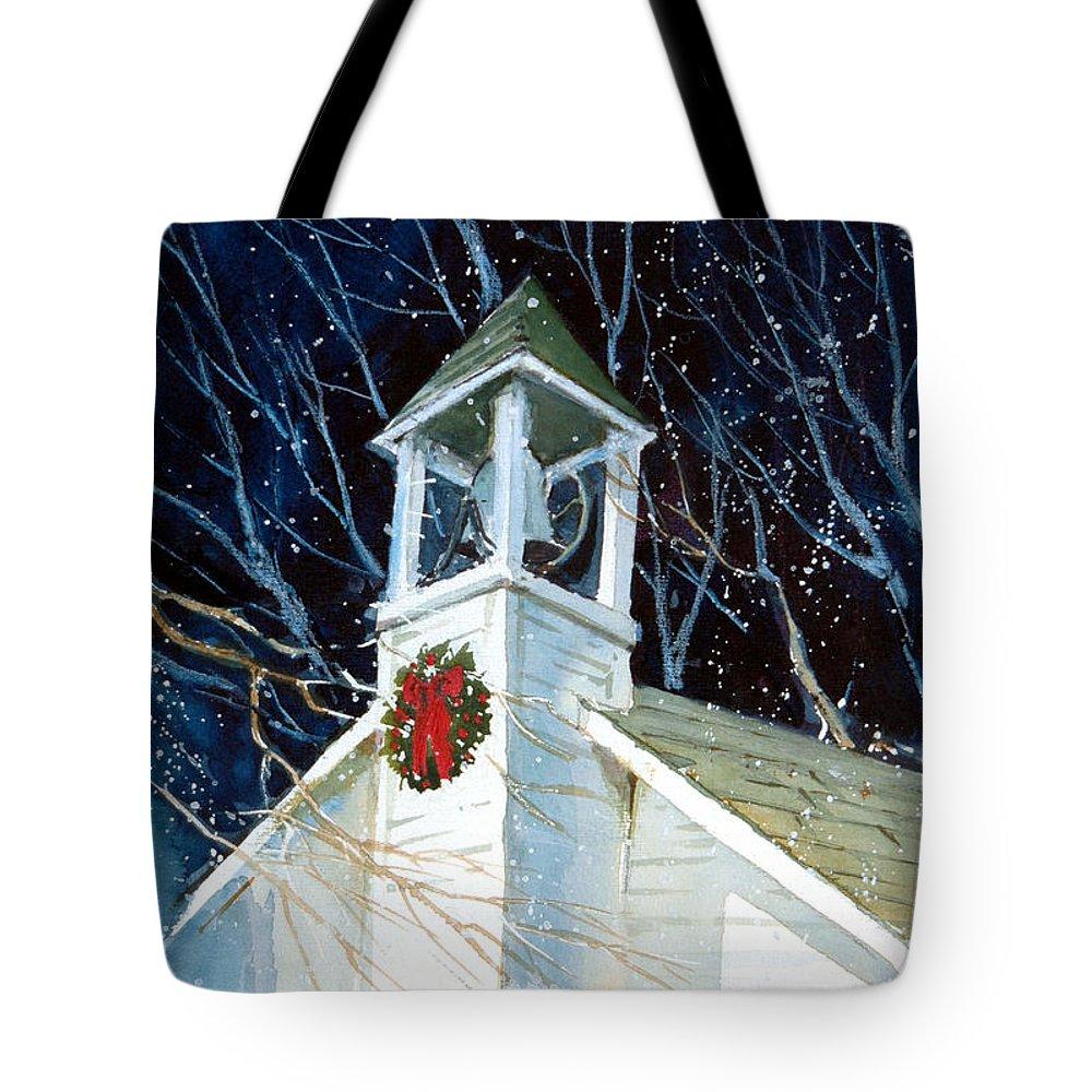 Liberty. Liberty Barn Church. Christmas Tote Bag featuring the painting Liberty Christmas by Charles Rowland