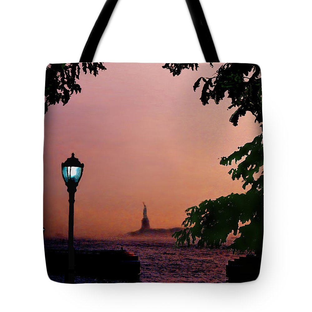 Seascape Tote Bag featuring the digital art Liberty Fading Seascape by Steve Karol