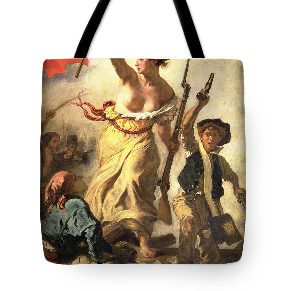 Personification; Female; Bare Breast; Soldier; Bayonet; National Flag; Revolution; Tricolour; Marianne; Freedom Tote Bag featuring the painting Liberty Leading The People by Ferdinand Victor Eugene Delacroix