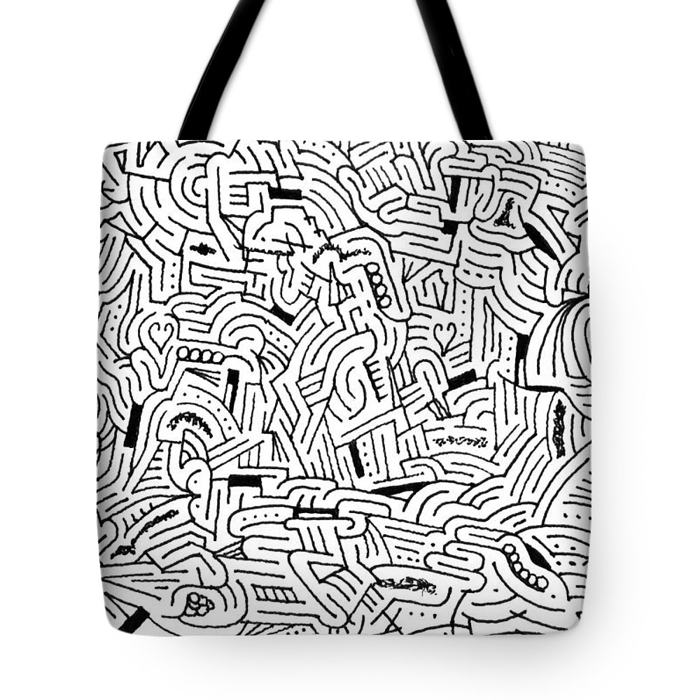 Mazes Tote Bag featuring the drawing Libidinous by Steven Natanson