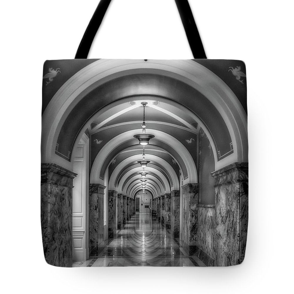 Library Of Congress Tote Bag featuring the photograph Library Of Congress Building Hallway Bw by Susan Candelario