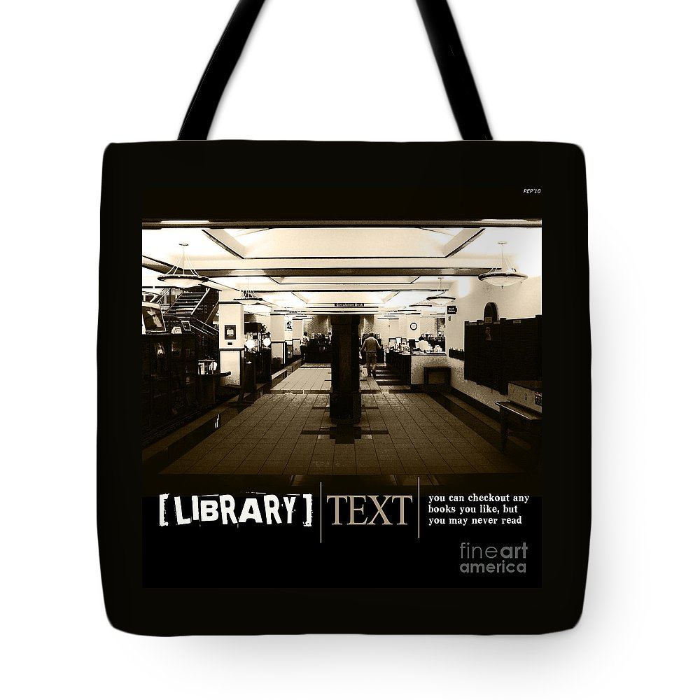 Graphic Design Tote Bag featuring the photograph Library by Phil Perkins