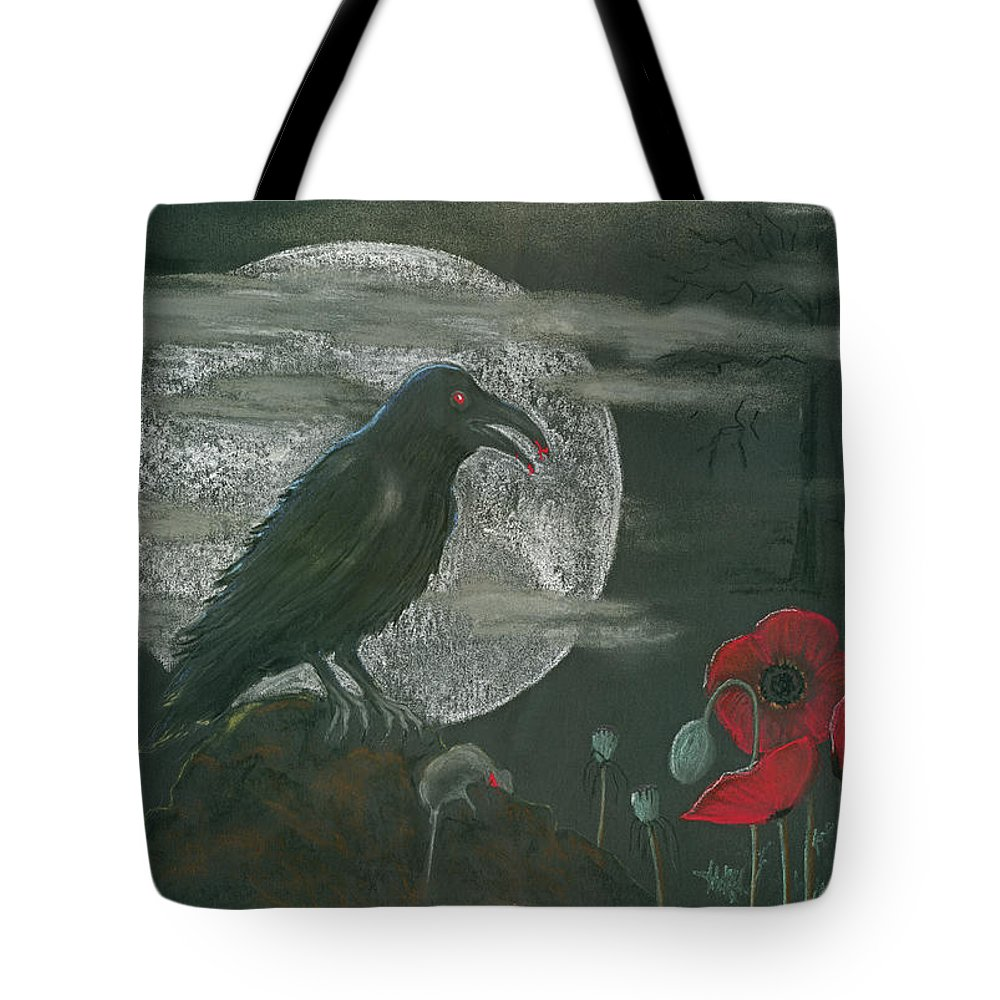 Raven Tote Bag featuring the pastel Life And Death by Mary Tuomi
