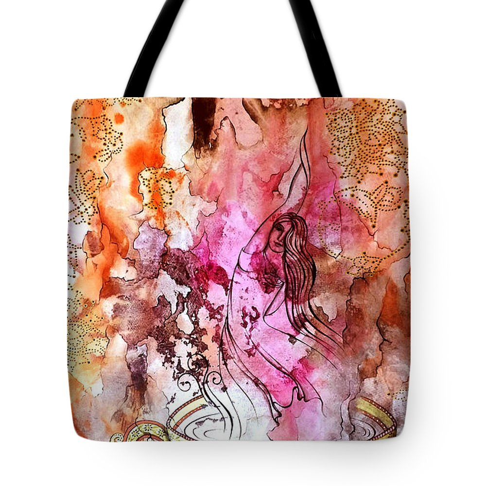 Water Color & Gouache Tote Bag featuring the painting Life by Fatemeh RezaeeFar