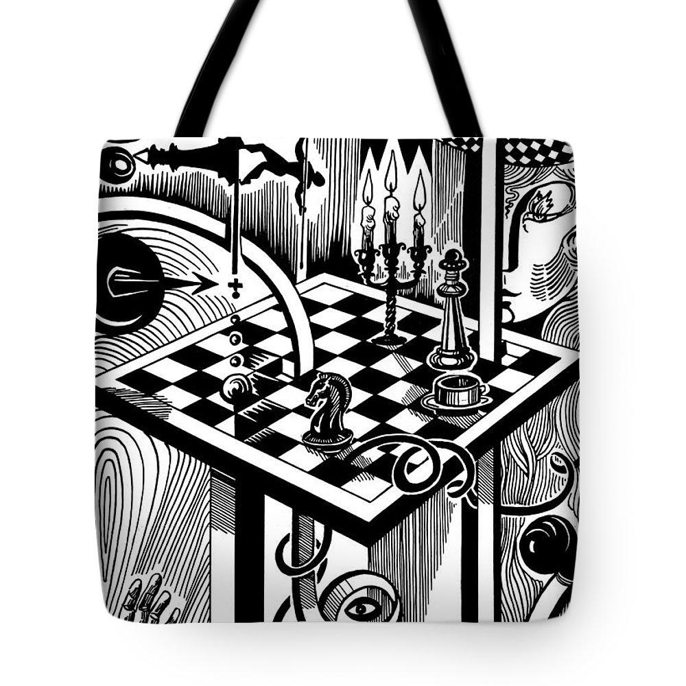 Inga Vereshchagina Tote Bag featuring the drawing Life Game by Inga Vereshchagina