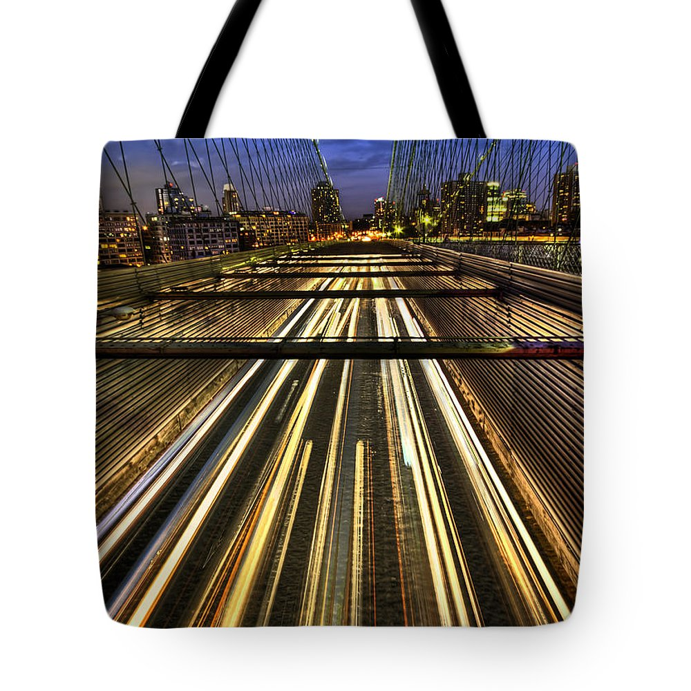 Bridge Tote Bag featuring the photograph Life In The Fast Lane by Evelina Kremsdorf