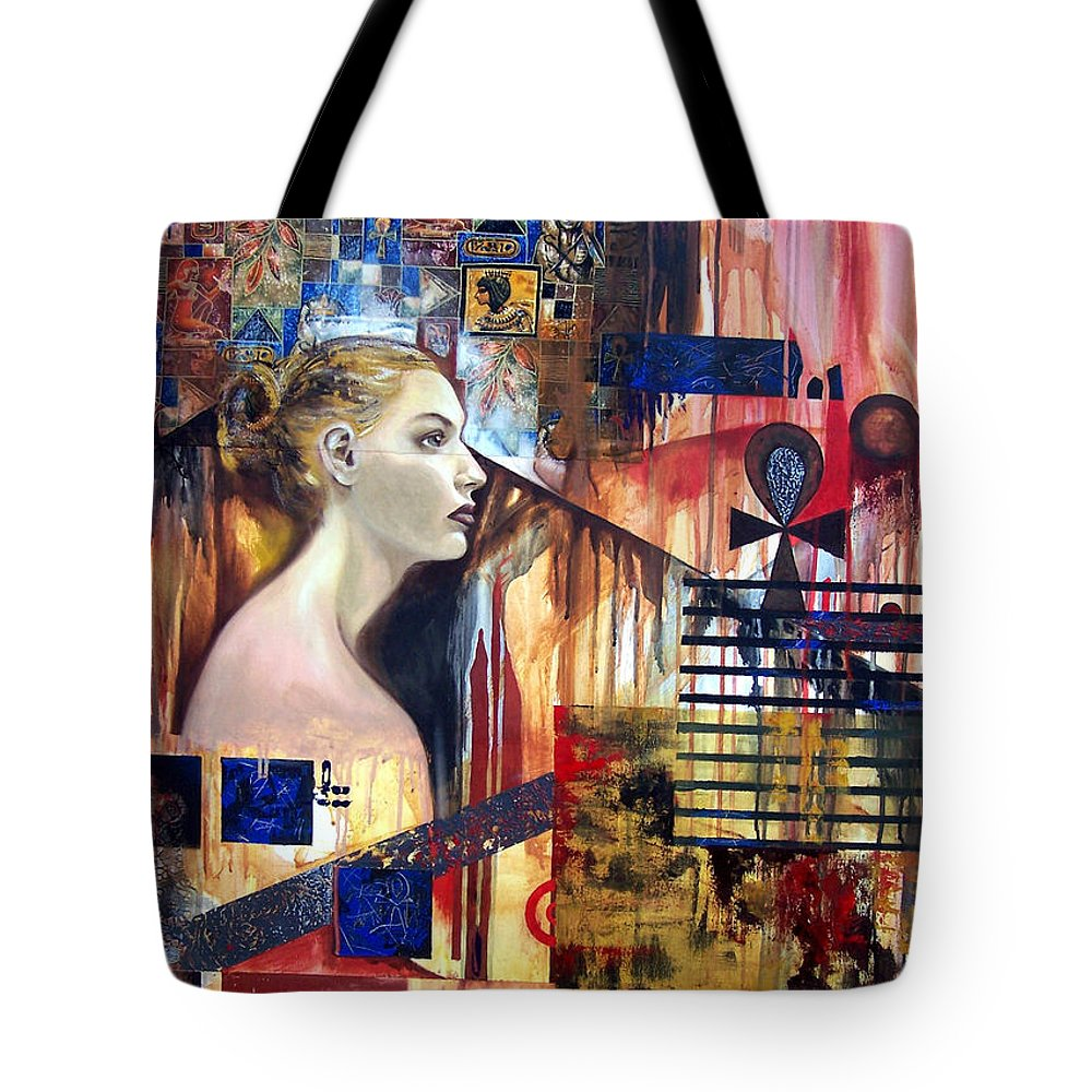 Profile Of A Woman Tote Bag featuring the painting Life In The Past by Leyla Munteanu