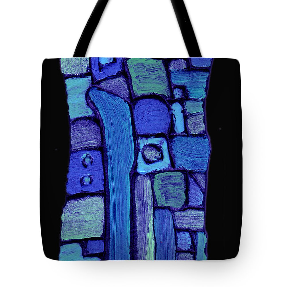 Abstract Tote Bag featuring the painting Life In The Pond by Wayne Potrafka