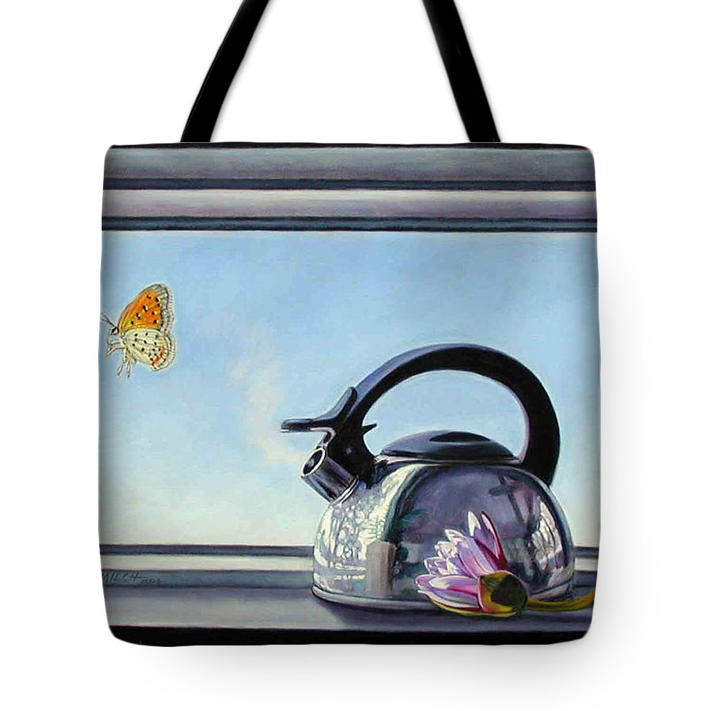 Steam Coming Out Of A Kettle Tote Bag featuring the painting Life Is A Vapor by John Lautermilch