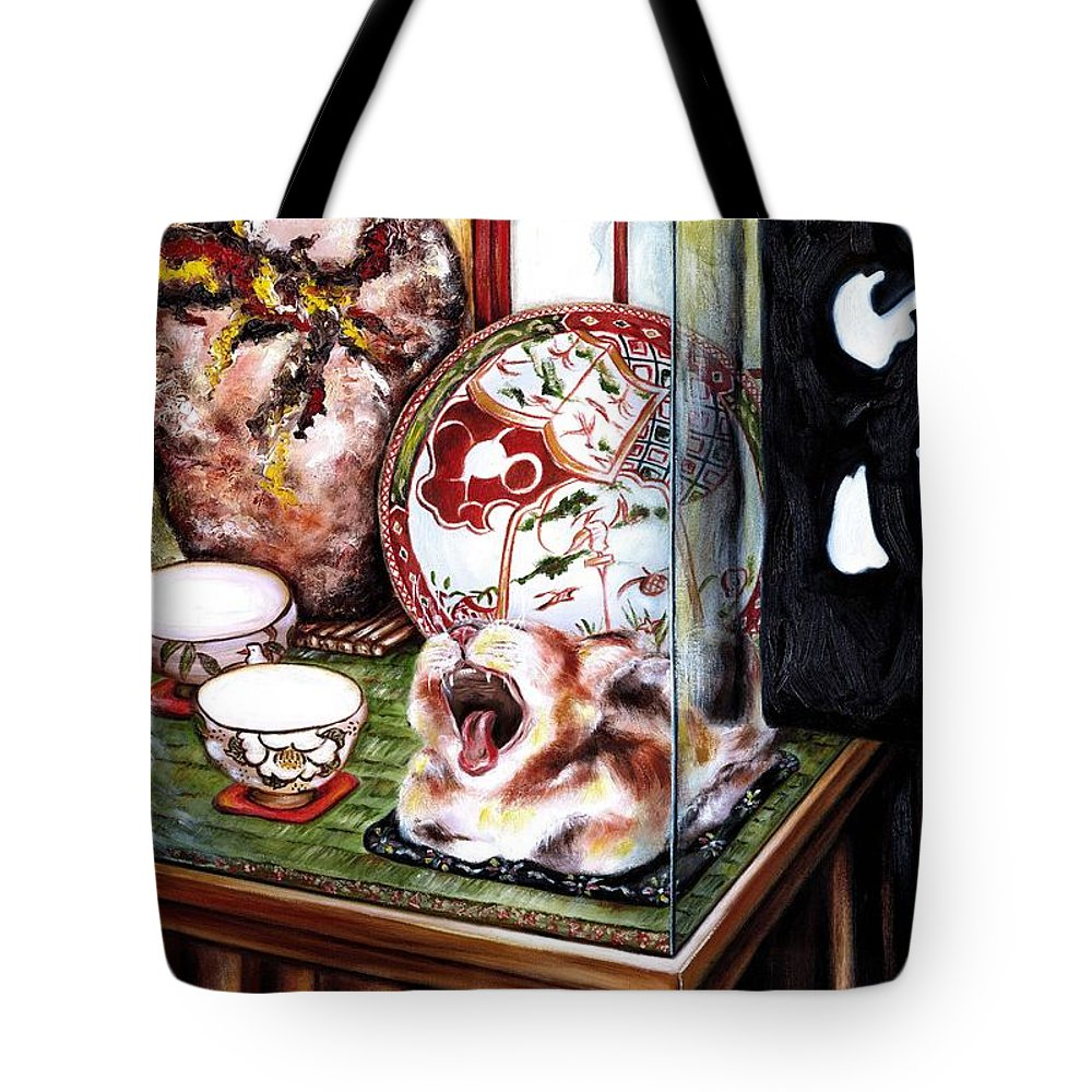 Cat Tote Bag featuring the painting Life Is Beautiful by Hiroko Sakai