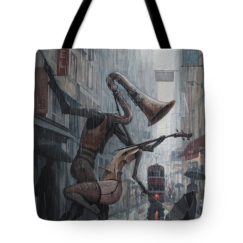 Life Tote Bag featuring the painting Life is dance in the rain by Adrian Borda
