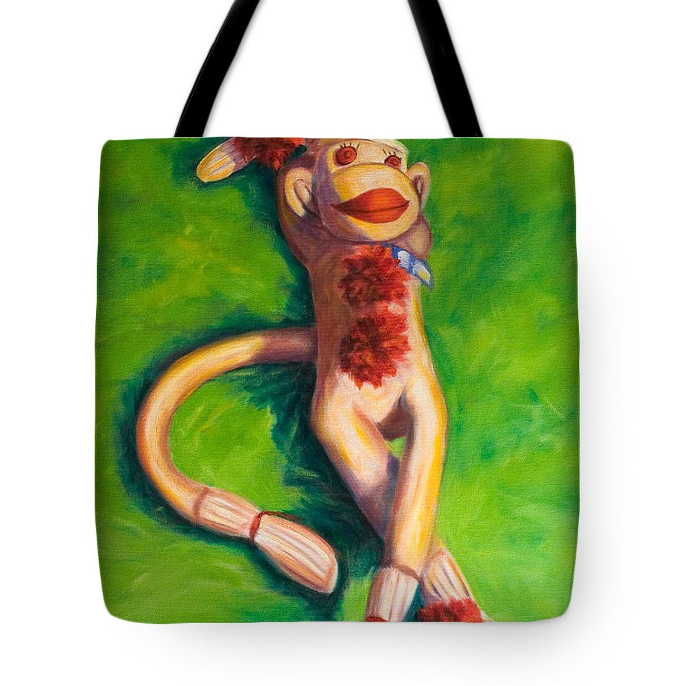 Sock Monkey Tote Bag featuring the painting Life Is Good by Shannon Grissom