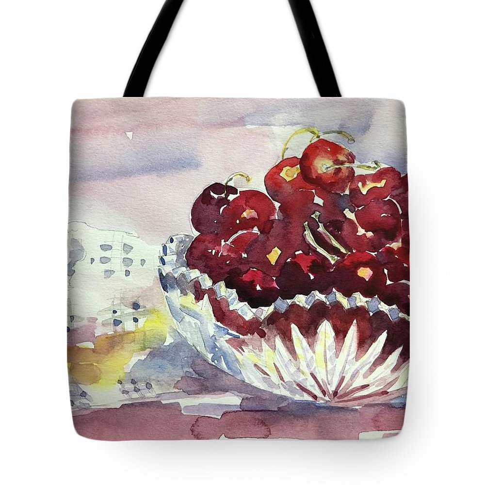 Tara Moorman Watercolors Tote Bag featuring the painting Life Is Just A Bowl Of Cherries by Tara Moorman