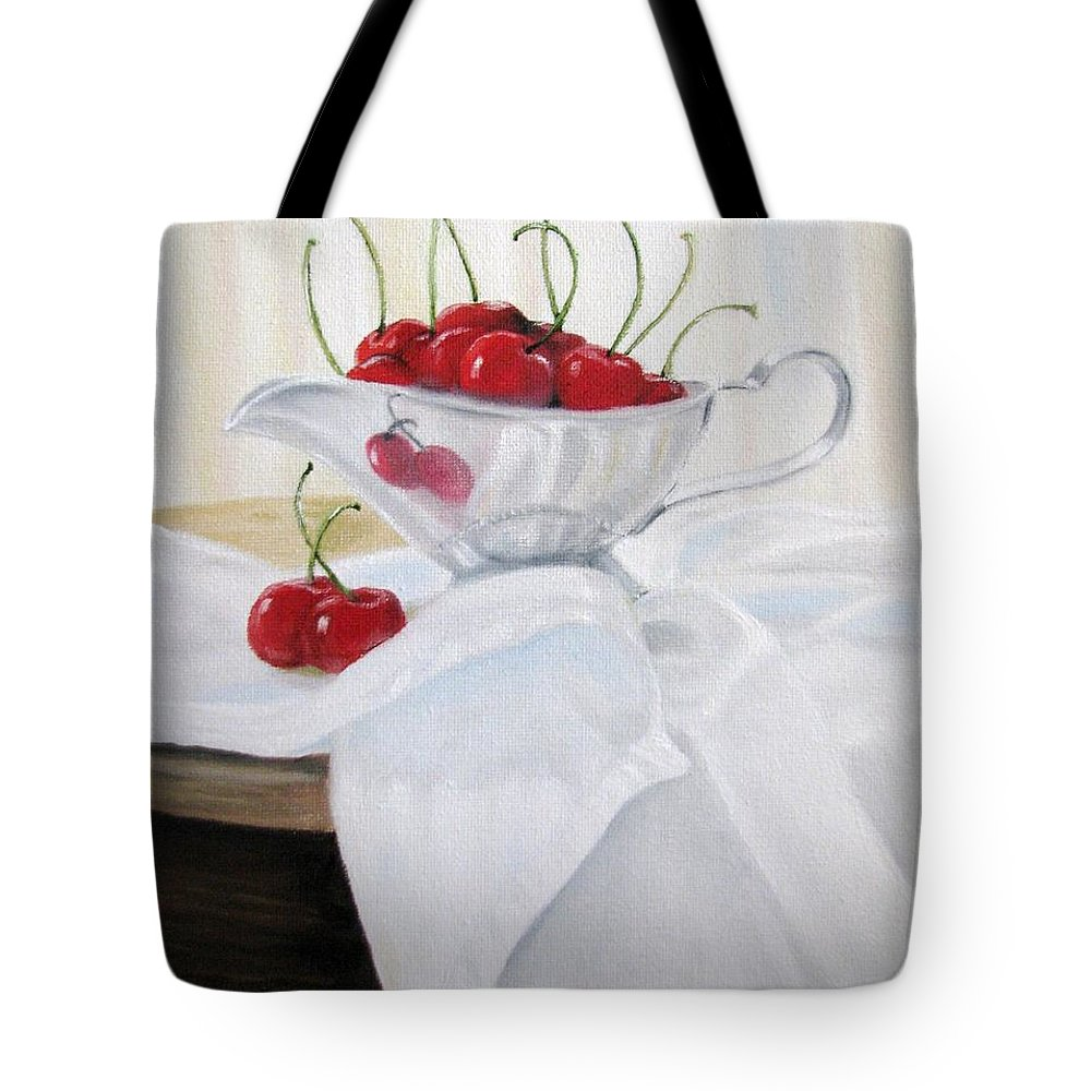 Cherries Tote Bag featuring the painting Life by Jan Brown Caraway