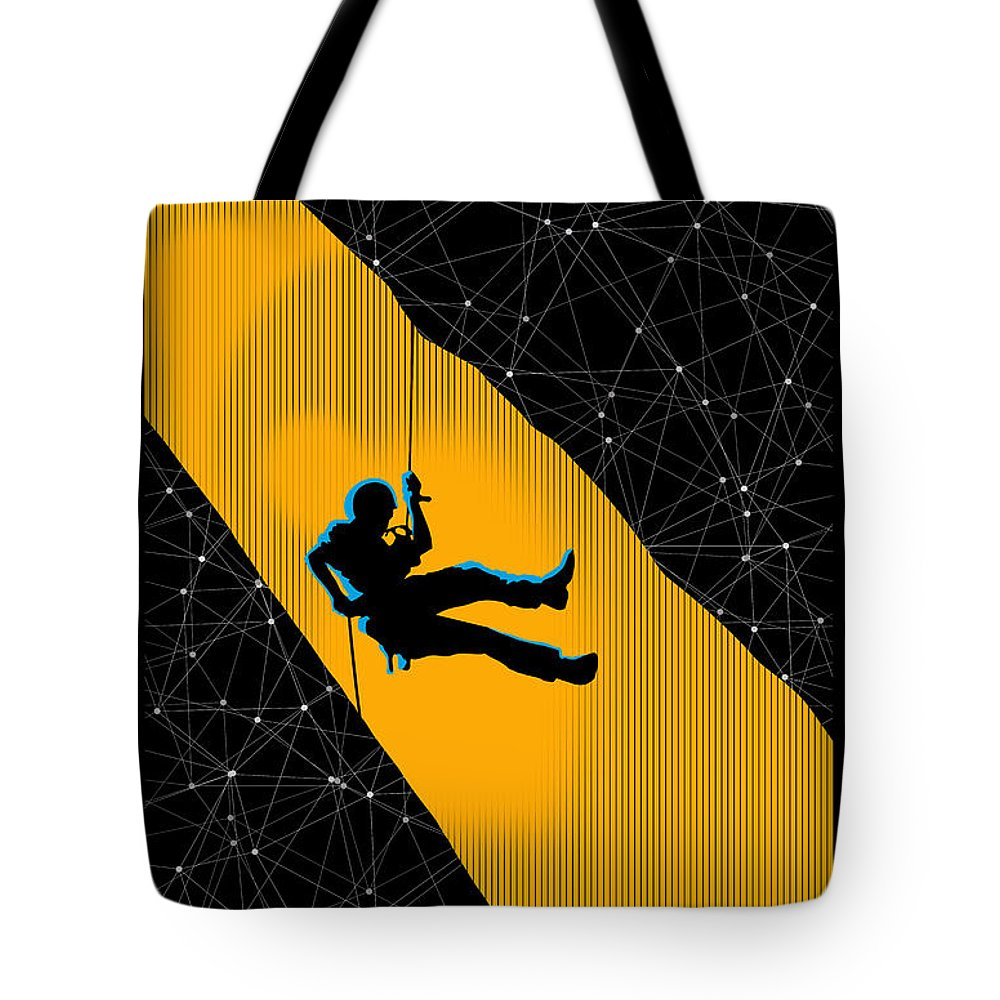 Rock Climbing Tote Bag featuring the painting Life on the Edge by Sassan Filsoof