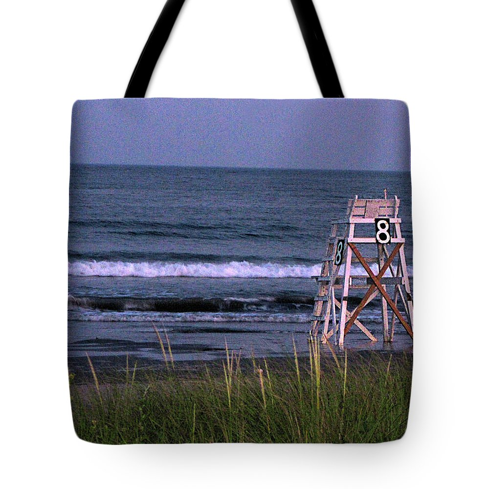 Lifeguard Chair Tote Bag featuring the photograph Lifeguard Chair by Denise Keegan Frawley