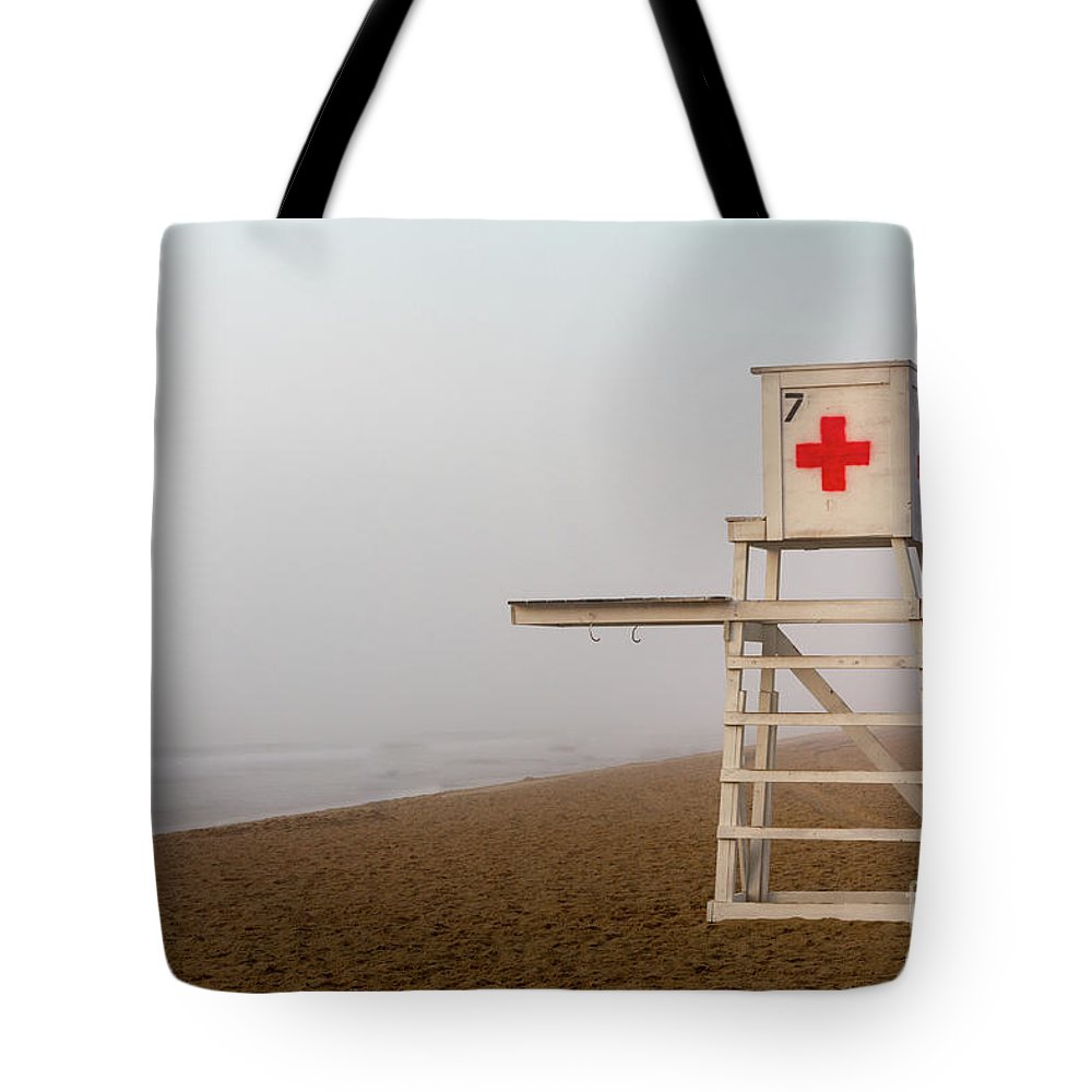Beach Tote Bag featuring the photograph Lifeguard Chair by Jerry Fornarotto